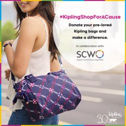 [Kipling] Donate your pre-💗 Kipling bags & receive $60 Kipling voucher at our standalone stores from now till 31st August!