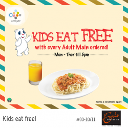 [Westgate Mall] Order a scrumptious meal for yourself at Earle Swensen's and your kid eats for free!
