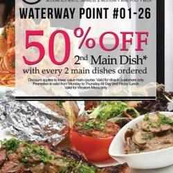 [Social Square] 50% off 2nd main dish at Waterwaypoint, Social Square 01-26.