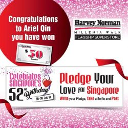 """[Harvey Norman] Congratulations to Ariel Qin, you have won yourself $50 Harvey Norman Vouchers in our """"Pledge your love for Singapore Selfie"""