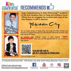 [Kids Performing™ Academy of the Arts] As a show of support to the boys, we are encouraging as many KPAA families to watch Forbidden City on