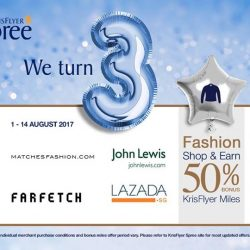 [Singapore Airlines] As part of KrisFlyer Spree's 3rd anniversary, earn 50% more miles when you shop at Lazada Singapore, MatchesFashion.