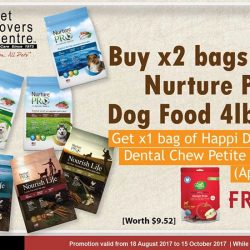 [Pet Lovers Centre Singapore] Till the 15th of October 2017, if you buy 2 bags of Nurture Pro Dog Food 4lb, we'll be