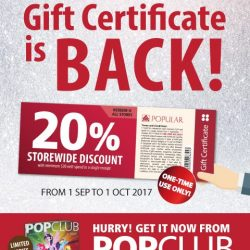 [POPULAR Bookstore] Pick up a copy of the POPCLUB magazine today and be rewarded with the 20% Gift Certificates ─ available only once