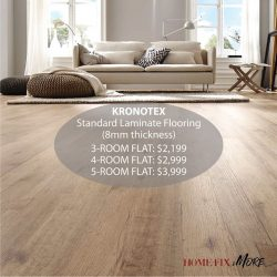 [Home-Fix Singapore] Lay your house with German made laminate flooring that makes cleaning and maintenance relatively easy.