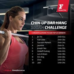[Fitness First] CHIN-UP CHALLENGE: We are pleased to unveil the Top 10 winners of the Chin-Up Bar Hang Challenge at