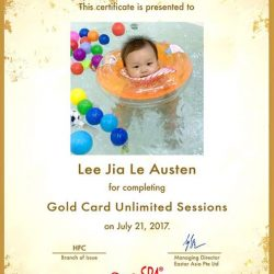 [BabySpa] Congratulations to our new Water Training graduate, Lee Jia Le Austen!