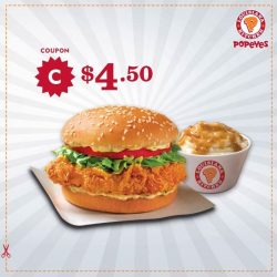 [Popeyes Louisiana Kitchen Singapore] Flash this post to get 1 CREOLE/CAJUN BURGER + REGULAR MASHED POTATOES for only $4.