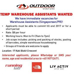 [LIV ACTIV] We're looking for TEMP WAREHOUSE ASSISTANTS for our Warehouse at Kaki Bukit!