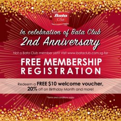 [Bata Shoe Singapore] Bata Club celebrates its 2nd Anniversary with 2X Bata Club points for members and complimentary membership for new registrations!