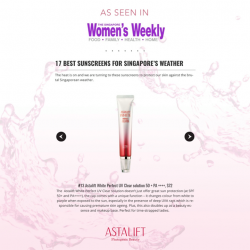 [ASTALIFT] Protect your skin from the harsh sun with Astalift Perfect UV Clear Solution, as seen in Singapore Women's Weekly,