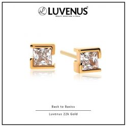 [Luvenus] Luvenus 22K Gold Square CZ Stud Earring is simple and embodies elegance; this Back to Basics designs is ideal for