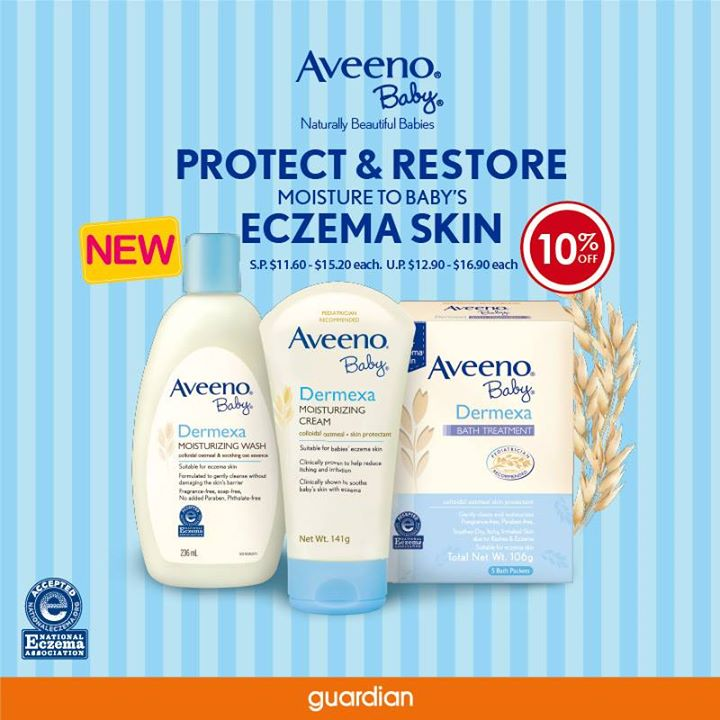 [Guardian] Introducing the new Aveeno Baby Dermexa range, formulated with Triple Oat Complex and Ceramide to protect and restore moisture to  - 👑BQ.sg BargainQueen