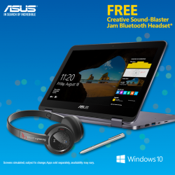 [ASUS] From now till 20 September, receive a FREE Creative Sound-Blaster Jam Bluetooth Headset when you purchase ASUS VivoBook Flip