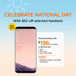[M1] This National Day, enjoy $52 off selected handsets with sign-up / re-contract on any 2-year mobile plan.