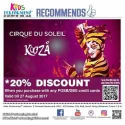 [Kids Performing™ Academy of the Arts] Catch Kooza by Cirque du Soleil at a special 20% off discount for all friends of Kids Performing!