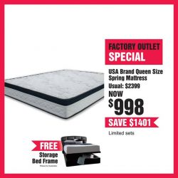 [Harvey Norman] Get a USA Brand Queen Size Spring Mattress for only $998 (Usual Price $2,399), over 55% off!