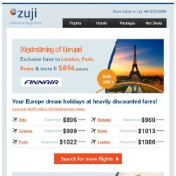 [Zuji] Bonjour! Your Europe dream holidays fr only $896 (return).
