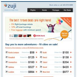 [Zuji] Tuesday Survival Kit: 10 cities from just $58 (return)!