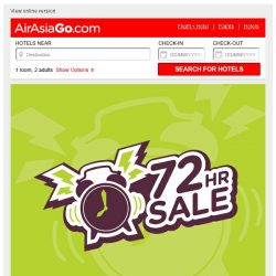 [AirAsiaGo] ⌚ 72 Hours Sale | Starts Today! - Hotel deals up to 65% ⌚