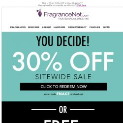 [FragranceNet] 30% OFF or Free Shipping ► You decide!