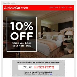 [AirAsiaGo] 🎁 Save an additional 10% on your hotel booking! Coupon inside! 🎁