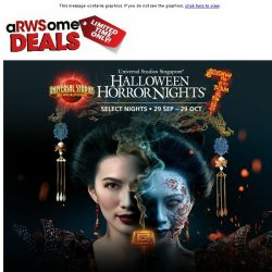[Resorts World Sentosa] aRWSome Deal Alert: Buy 3 Halloween Horror Nights™ 7 Event Admission Tickets and Get 1 FREE