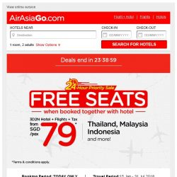 [AirAsiaGo] 🎉 FREE SEATS when booked together with hotel | 24-Hour Priority Sale 🎉
