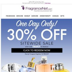 [FragranceNet] Time's almost up. Get 30% off before midnight 🌙