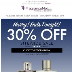 [FragranceNet] Hours left to get 30% off all inventory. No exclusions.