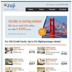 [Zuji] All Japan cities on sale + 3D2N package deals!