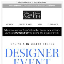 [Saks OFF 5th] Starts Today! Up to 80% OFF Designer