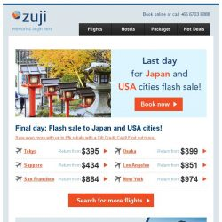 [Zuji] Last 12 hours: Japan and USA cities fr $395 (return).