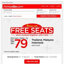 [AirAsiaGo] ⏰ Hurry Up! Left 4 Days to book your FREE SEATS! ⏰