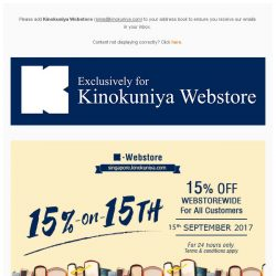 [Books Kinokuniya]  24 hours only promotion! 15% Off* WEBstorewide on 15th September + Free delivery with purchases of more than S$25 for all customers!