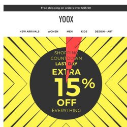 [Yoox] The Final Countdown: EXTRA 15% OFF everything