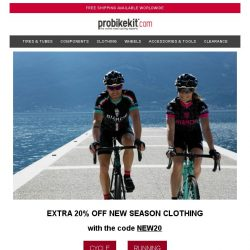 [probikekit] Extra 20% off New Season Clothing   Buy 2, Save 10% on Summer Clothing Clearance