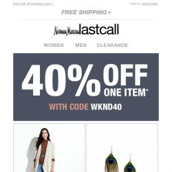[Last Call] 1,000s of styles {40% off 1 item}