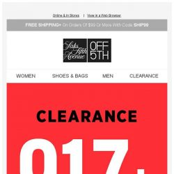 [Saks OFF 5th] Don't Miss Your Chance! Shop New Clearance Markdowns