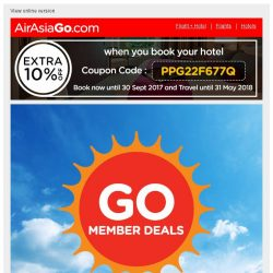 [AirAsiaGo] 🌟 Member Deals | Awesome news, Get minimum 50% Off or more today! 🌟