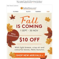 [FarEastFlora] Fall is coming – Enjoy $10 OFF our Autumn New Blooms!