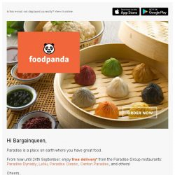 [Foodpanda] Free delivery on Paradise Group restaurants!