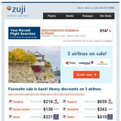 [Zuji] Favourite sale is back: 3 airlines on sale!