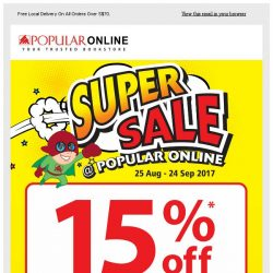 [Popular] Last 5 Days for Super Sale! 15% Off Storewide Now and Members Get Add. $5 Off!