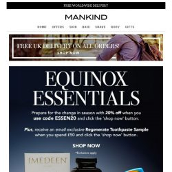 [Mankind] 20% off PLUS Free Regenerate Gift Inside | Equinox Essentials