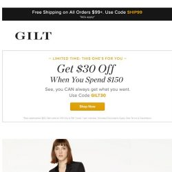 [Gilt] Don't Miss: Get $30 off when you spend $150 + Misha Nonoo, Saint Laurent Apparel and More Start Now