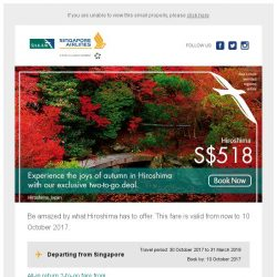 [Singapore Airlines] From SGD518, discover Hiroshima along with a friend.