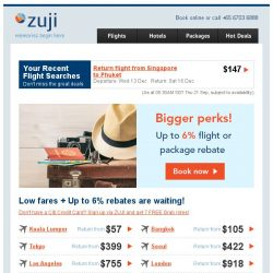[Zuji] Bigger perks: Fly fr $57 + additional 6% rebate.