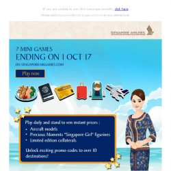 [Singapore Airlines] Stand to win Singapore Airlines limited edition collaterals before 1 Oct 17!
