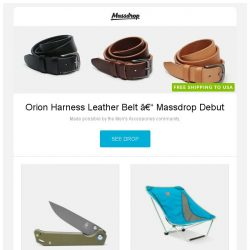 [Massdrop] Orion Harness Leather Belt – Massdrop Debut, Kizer V4458A1 Begleiter Liner Lock, Alite Mayfly Chair 2.0 and more...